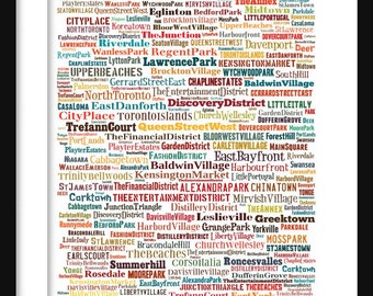 Toronto Map - Typography Neighborhoods of Toronto Poster Print