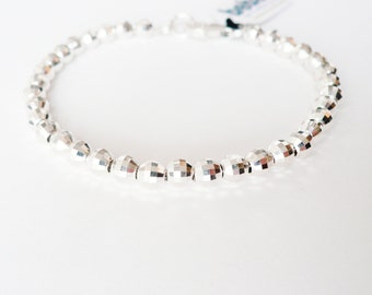 Sterling Silver 5mm Ball Bracelet - faceted beads - Weddings Bridal Bridesmaid Gifts