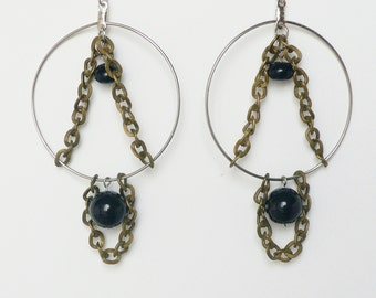 Statement Chandelier Hoop Earrings - Bronze Chains and Black Glass Beads