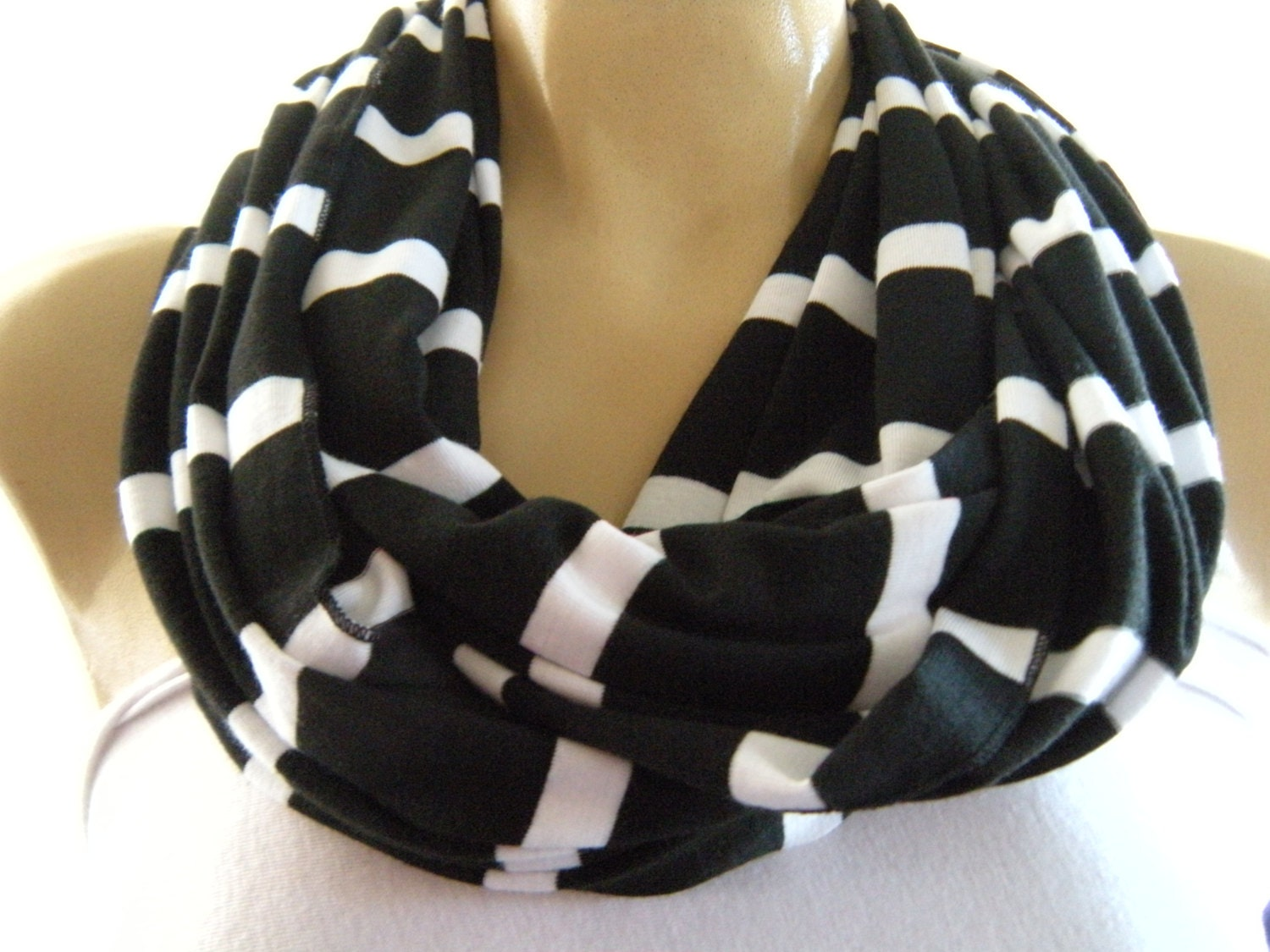 black and white striped infinity scarf cowl cotton jersey
