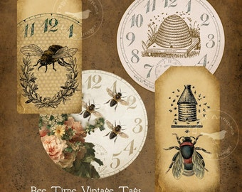 Bee Time Vintage Printable Images Digital Download