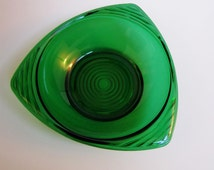 Vintage green glass dish, Emerald Green Glass Nut Dish tri-shaped, Mid Century Glass Bowl