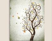 Watercolor Art Autumn Tree Print, Modern Wall Decor, Abstract Tree Art, Natural Colors Earthtones Fall Nature Print