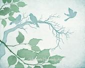 Blue Green Watercolor Tree Branches 8 x 10 Bird Print, Woodland Wildlife, Nature Wall Decor (200)