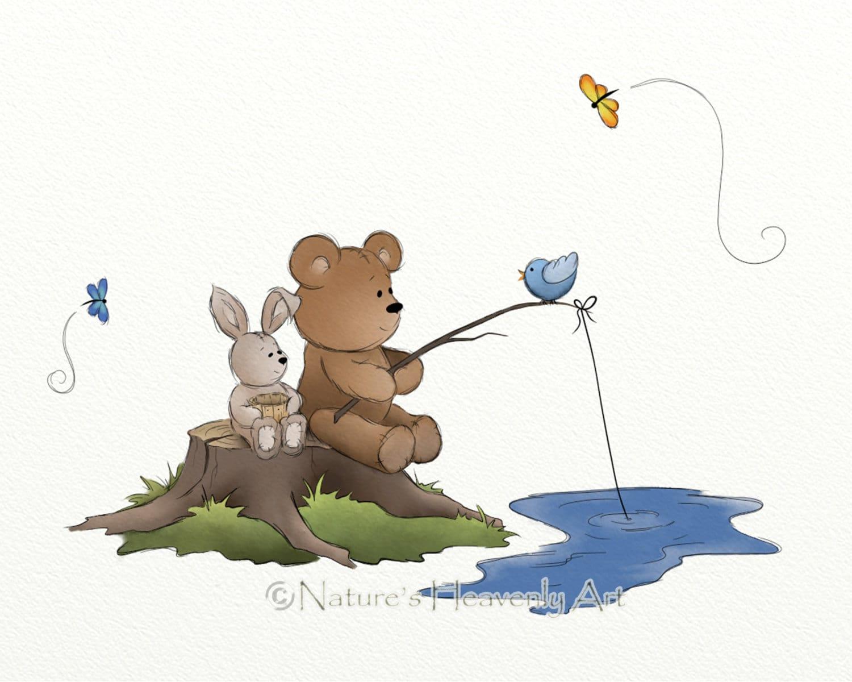 Teddy Bear Art Childrens Print Rabbit Woodland Animals