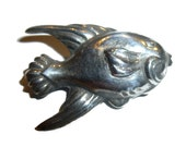Gone Fishin'. Nicely Detailed Silver Fish Brooch. 1940s.