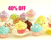 SALE 40% Off - Set Of  5 Assorted MINI Fake Cupcakes ,play food cupcake play kitchen, pretend food, kitchen toy, toy food, cupcake toy