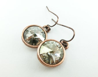 Copper Drop Earrings Smoky Crystal Earrings Antiqued Copper Gray Silver Dangle