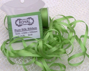 Pure Silk Ribbon 4mm 10 yd Card LT. Moss Color -640-