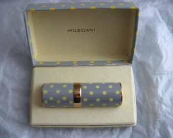 50's Flatterie Perfume by Houbigant.  Empty purse spray.  Vintage RARE.  Grey with Yellow Polka Dots.