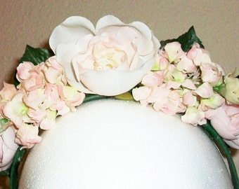 Promise of Spring - soft pink floral fantasy crown, festival, wedding, costume, fairy