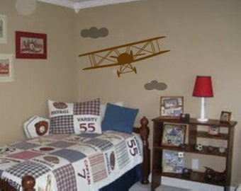 Airplane decal-Biplane sticker-vinyl wall decal-graphic-childs room decor-36 X 25 inches