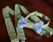 Bow tie and suspenders set - blue and green dot - boys - fully adjustable