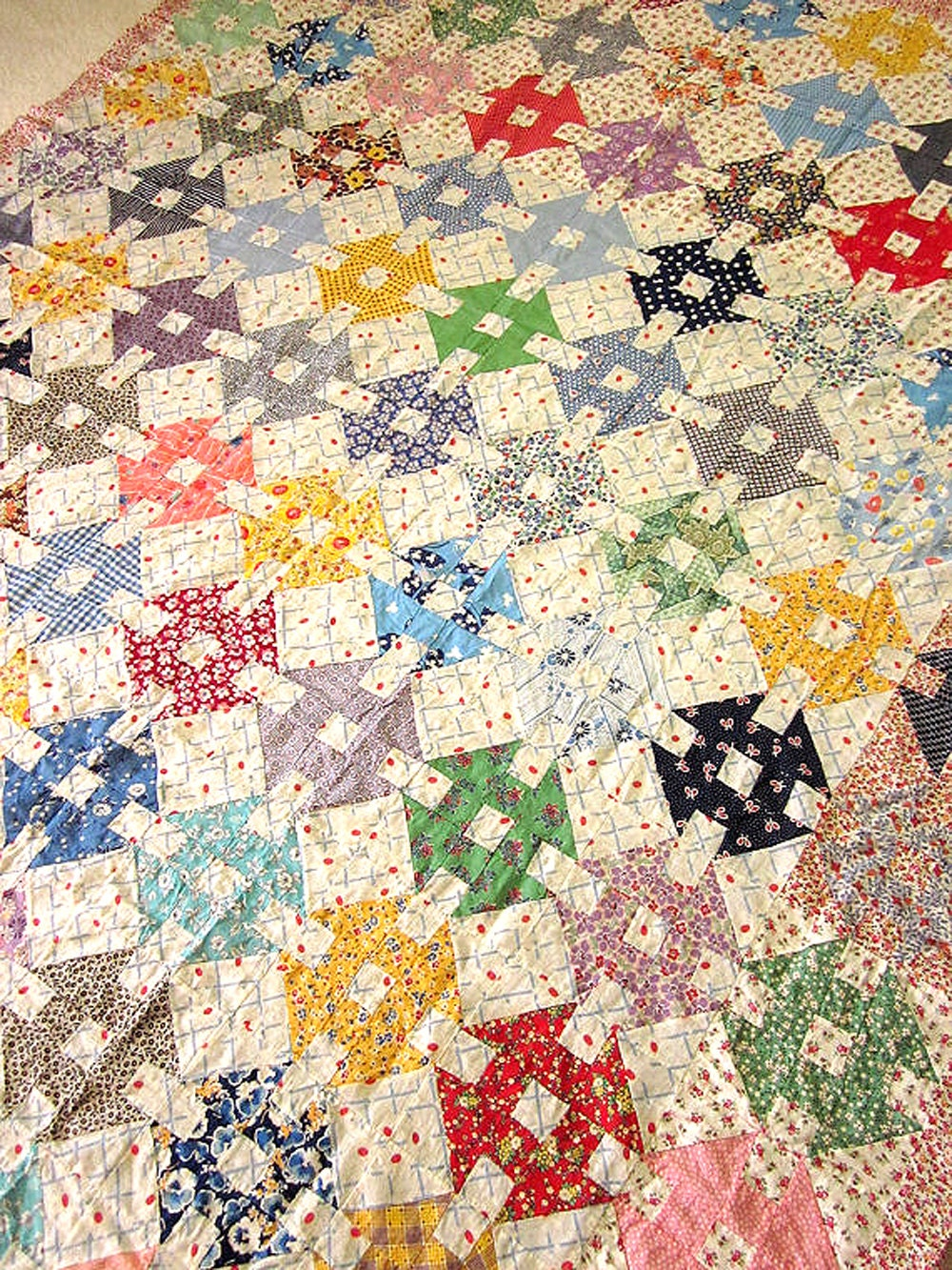 Reserved For Millie Vintage Patchwork Quilt Top Hand Sewn