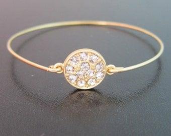 Rhinestone Cluster Bracelet, Gold Rhinestone Bracelet, Rhinestone Wedding Bracelet, Rhinestone Circle Bracelet, Rhinestone Bridal Bracelet