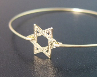 Star of David Bracelet, Star of David Bangle Bracelet, Bat Mitzvah Jewelry, Bat Mitzvah Gift, Jewish Star Bracelet, Star of David Jewelry