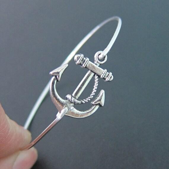 Silver Anchor Bracelet Ocean Themed Jewelry Navy Wife