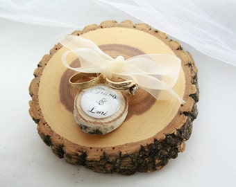 Rustic Ring Bearer Pillow Wood Tree Slice with Personalized Wood Charm
