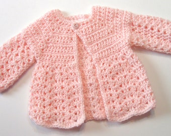 Crochet Pattern, Baby Sweater, Perfect for Girls, Oma's Sweater Pattern 2013, Newborn to 3 Months PDF Pattern Emailed to You