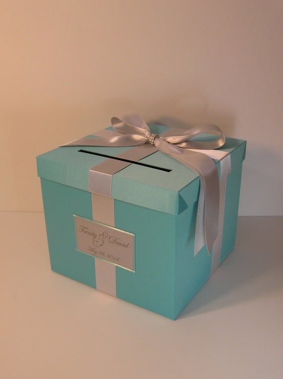 Blue wedding card box gift card box money box by bwithustudio for How to decorate a money box