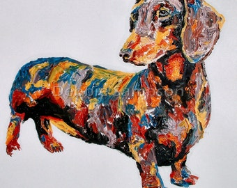 Daschund doxie art limited edition print small dog giclee' signed
