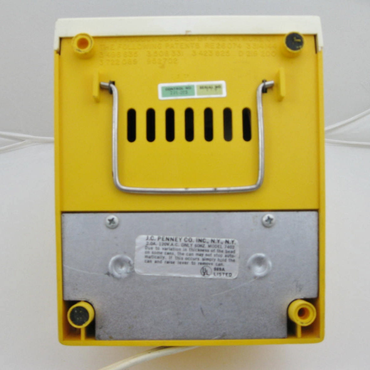 Yellow Electric Can Opener And Knife Sharpener By Penncrest