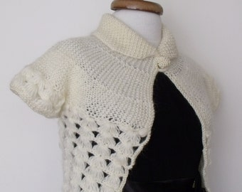 Ivory Bridal Pearl Shrug With Button-Ready For Shipping
