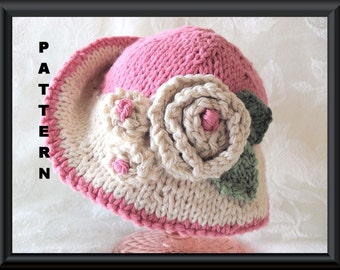 Knitted Hat Pattern Baby Hat Pattern Newborn Hat Pattern Infant Hat Pattern Baby Hat with Flower Hand Knit Baby Hat: IN THE PINK
