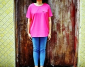 Pink T-Shirt Short Sleeve Neon Top Fuchsia Sheer Blouse Raspberry Petite Fall Fashion Etsy Gift
