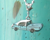 Vintage Sky Blue Car Pendant / Necklace Jewelry