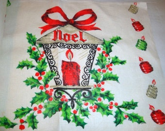Vintage Linen Christmas Place Mats, Noel Placemats, Holiday Decor, Set of 6  (315-13)