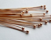Handmade bronze copper ball head pins 24 gauge x 20 MADE TO ORDER, bronze or copper ball ended head pins headpins