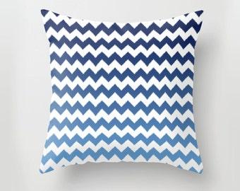 Blue Ikat Ombre Cheveron White Pillow Cover 16X16  Hidden Zipper