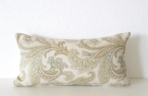 Ivory Paysley Decorative Lumbar Pillow Cover 8 X 16 Light