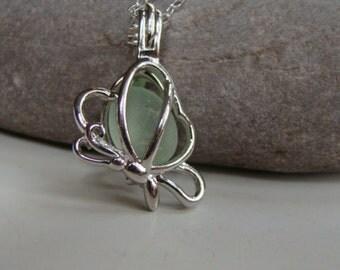 Butterfly Necklace Pendant - Seafoam Sea Glass - Sterling Silver Chain