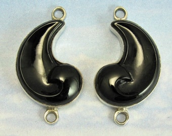 Black Vintage Glass Cabochon Sterling Silver Settings Finding Component 2 pcs A-5