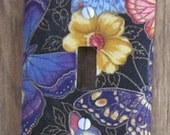 Black Butterfly Fabric Covered Switchplate Cover