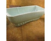 Mid Century Aqua Gold Speckled Rectangular Tray Planter - Vintage Pottery