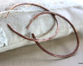 Hoop Earrings Hammered Copper Post Earrings, Rustic Hoops Handmade Jewelry