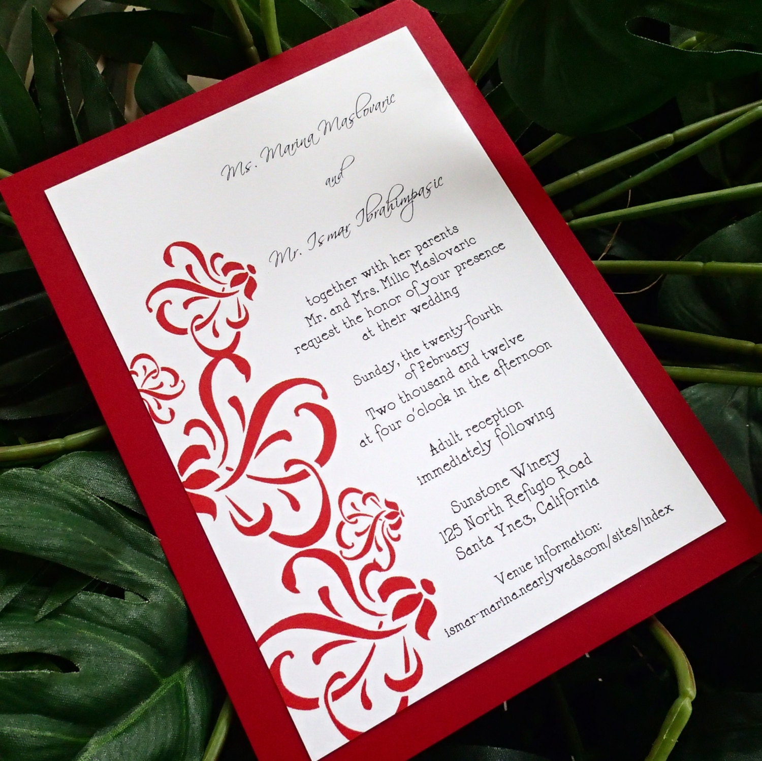 Red and White wedding invitation Modern wedding invitationsRed And White Wedding Invitations