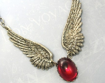 Steampunk Necklace Red Gothic Wings Angel Vampire Necklace
