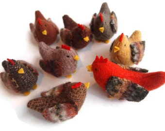 Hens and a Rooster, Waldorf toy, toy chickens, eco friendly toy, waldorf chickens