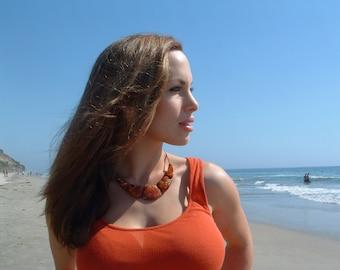 Marble tagua bezote necklace orange/ brown tagua necklace/tagua jewelry