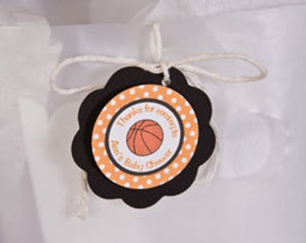 Basketball Theme Favor Tags  - Basketball Baby Shower Decorations  in Orange & Black (12)