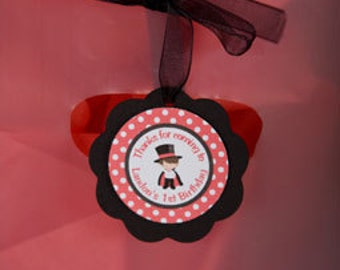 Magic Theme Favor Tags, Magician Birthday Party Decorations in Red and Black (12)