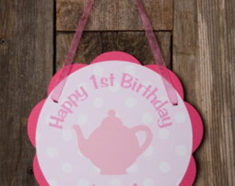Pink Tea Party Decorations - Teapot Door Hanger - Tea Party Birthday Party Decorations in Hot Pink & Light Pink