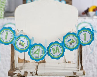 Train Themed I AM 1 Happy First Birthday MINI BANNER  - Train Party Decorations in Aqua Blue and Green