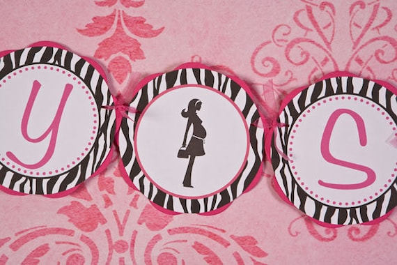 Items Similar To Hot Pink And Zebra BABY SHOWER Banner, Shower Decoration,  Party Sign   Zebra Party Decorations   Mom Silhouette On Etsy