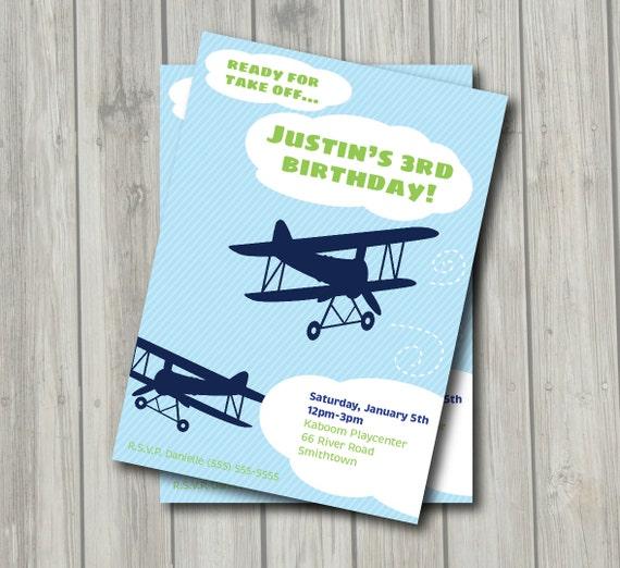 Airplane Birthday Invitation Diy Printable By Vindee On Etsy: Items Similar To Vintage Airplane Birthday Party