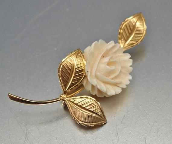 Vintage Ivory brooch gold tone genuine carved ivory flower